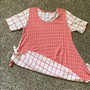 LULAROE Perfect Tee- Red Squares S